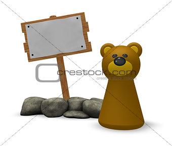 bear and blank wooden sign