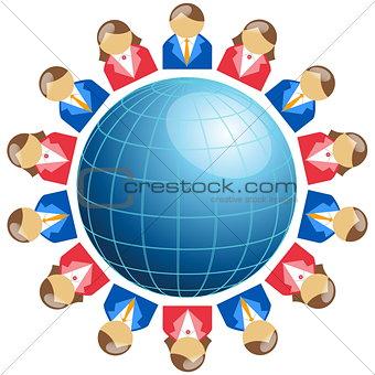 Business men and women around globe