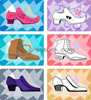 Six stylish man shoes isolated on faceted background