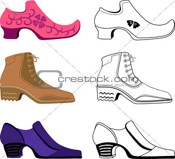 Six stylish man shoes isolated on white background
