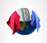 Earth Flag of France 3D Render Hi Resolution