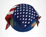 Earth Flag of USA 3D Render Hi Resolution