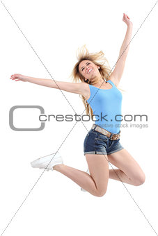 Casual woman jumping excited
