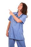 nurse pointing