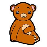 funny cute bear sits