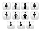 Man and women body type buttons - slim, fat, obese, thin