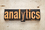 analytics word in wood type