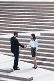 Asian Woman Caucasian Businessman Handshake City Steps