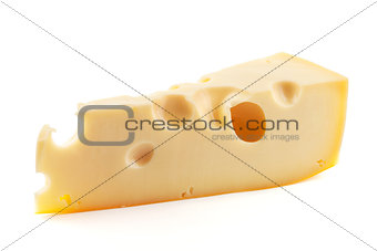 Fresh cheese with holes