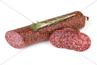 Slices italian salami sausage with rosemary
