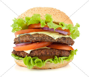 Fresh burger with two beef pieces