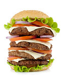 Very large burger with beef, cheese, onion and tomatoes