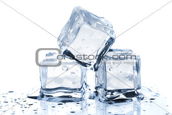 Three melting ice cubes