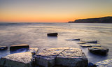 Winter sunset Kimmeridge Jurassic Coast.