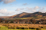 Mam Tor in Peak District National Park viewed from Edale village