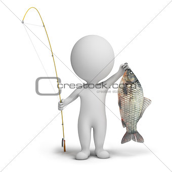 3d small people - fisherman