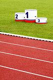 Track lanes with winner's podium