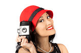 Beautiful Chinese woman holding old film camera