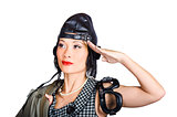 Female aviation lady saluting in pin-up class
