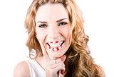 female cosmetics model wearing creative make up