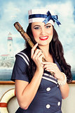 Smiling young pinup sailor girl. American navy
