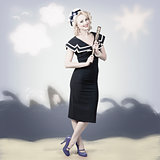 American navy pinup girl on 50s graphic background