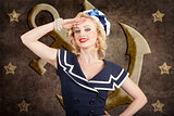 Retro pin-up sailor woman. Retro 50s fashion style