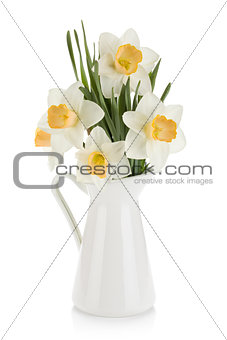 Bouquet of white daffodils in jug