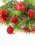 Christmas green fir tree  branches with beautiful decorations