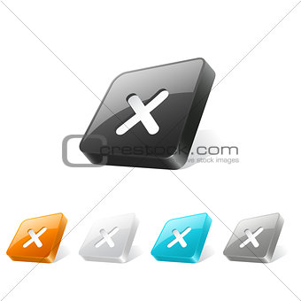 3d web button with cross mark icon