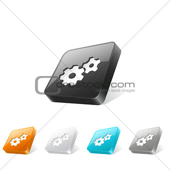 3d web button with gear icon