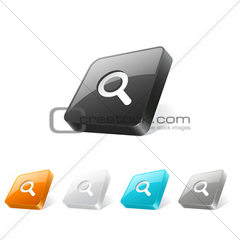 3d web button with magnifier icon