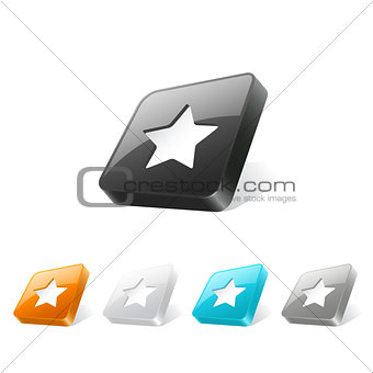 3d web button with star icon