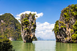 James Bond island Ko Tapu landscape in Phang Nga bay, Thailand.
