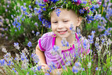 pretty girl among the flowers of lavender