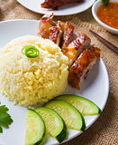 chicken rice, singapore malaysian food with materials as backgro