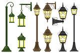 set streetlight vector illustration