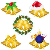 christmas bells set icons vector illustration