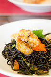 seafood  and black spaghetti