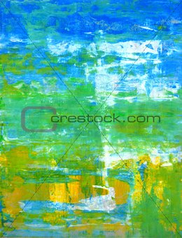 Green and Blue Abstract Art Painting