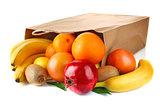 paper bag with fresh ripe fruit
