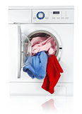 washing machine with linen