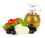 mozzarella cheese with cherry tomatoes and oil olive