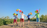 happy children with colorful balloons