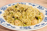 Chinese Fried Rice with Barbeque Pork and Shrimp