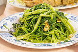 Stir Fry Chinese Kangkong Vegetable Closeup