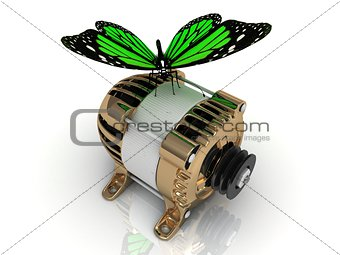 Green butterfly sitting on a gold generator