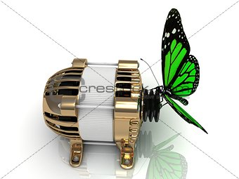 Green butterfly sits on a pulley gold generator