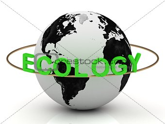 Green ecology on a gold ring around the earth