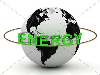 Green energy on a gold ring rotates around the earth
